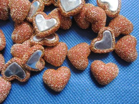 10 x 17MM GLITTER GOLD HEART FLAT BACK HEADBANDS HAIR BOWS CARD MAKING CRAFTS